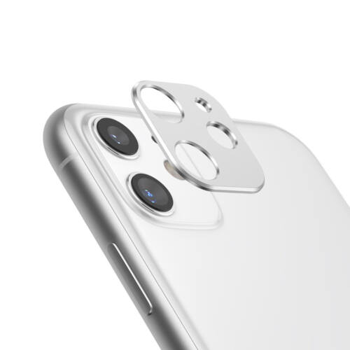 Apple iPhone 11 (6.1) típusú készülékre kamera lencse védő fém lapka, ezüst