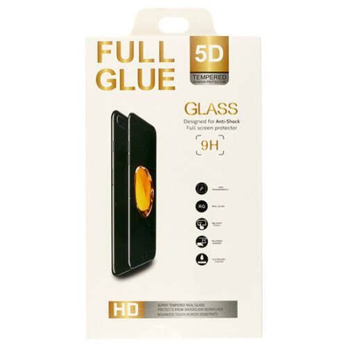 Huawei Mate 20 Pro típusú telefonhoz 5D hajlított ütésálló üvegfólia, fekete