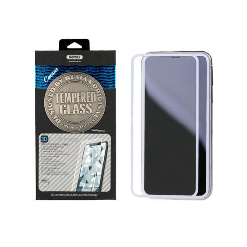 Apple Iphone X, XS (5.8) típusú telefonhoz Remax Ceasar 3D ütésálló üvegfólia (első és hátsó) (teljes felületen ragad), fehér