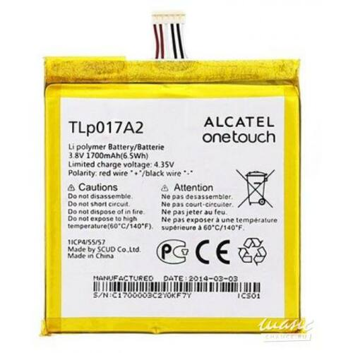 Gyári típusú akkumulátor Alcatel Idol Mini (6012D) típusú készülékhez, 1700 mAh (TLp017A2)