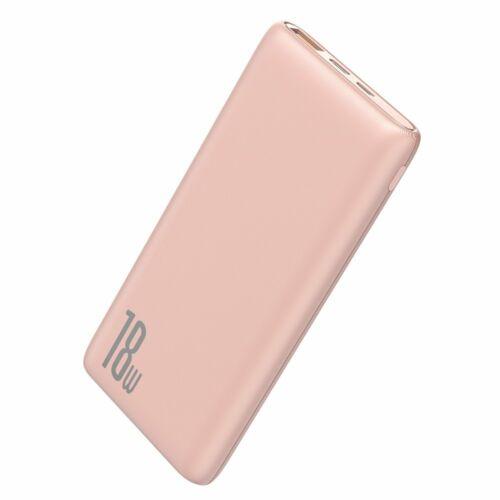 Baseus Bipow Power Bank 18W, külső akkumulátor 10000 mAh-s 2xUSB (PPDML-04), pink
