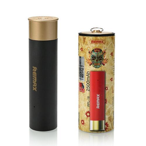 Remax Shell, töltény alakú Power Bank, külső akkumulátor 2500 mAh-s 1db USB (RPL-18), fekete