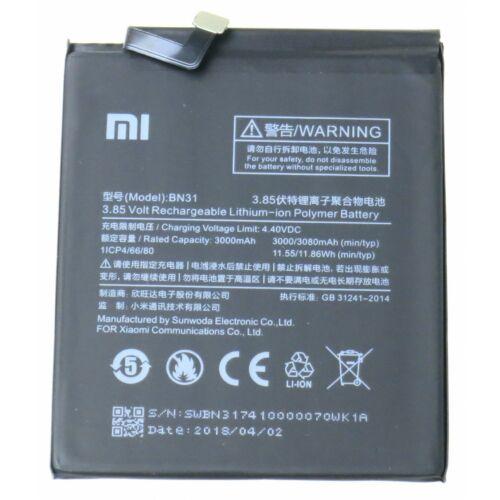 Gyári típusú akkumulátor Xiaomi Mi A1, Redmi Note 5A típusú készülékhez, 3000 mAh (BN31)