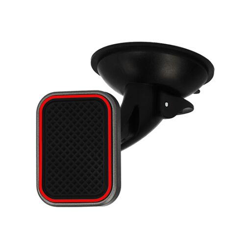 Univerzális mágneses autós tartó, szilikonos tapadó koronggal, szellőző rácsba is illeszthető adapterrel, (TXR) piros