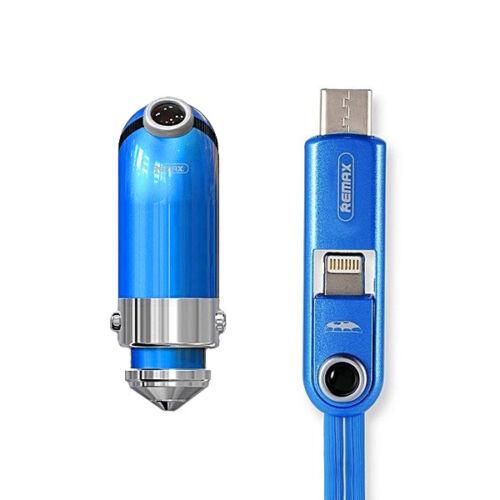 Remax Minion Gru szivargyújtós töltő (USB + Type-C és iPhone lightning) RCC-211, kék