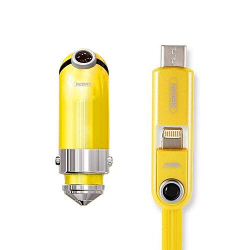 Remax Minion Gru szivargyújtós töltő (USB + Type-C és iPhone lightning) RCC-211, sárga