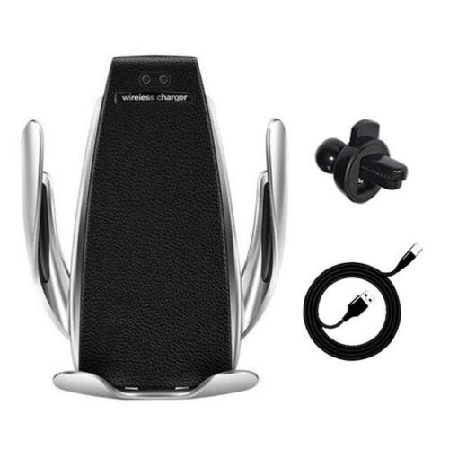Wireless töltős, atomatikusan nyíló és záródó, univerzális autós tartó, szellőző rácsra (S5), fekete