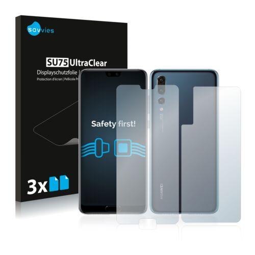 6db-os Savvies SU75 kijelző és hátlapvédő fólia, Huawei P20 Pro típusú telefonhoz (első + hátsó)