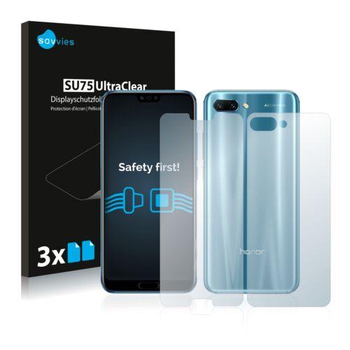 6db-os Savvies SU75 kijelző és hátlapvédő fólia, Honor 10 típusú telefonhoz (első + hátsó)
