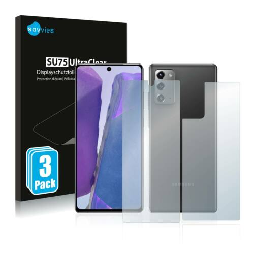 6db-os Savvies SU75 kijelző és hátlapvédő fólia, Samsung Galaxy Note 20 típusú telefonhoz (első + hátsó)