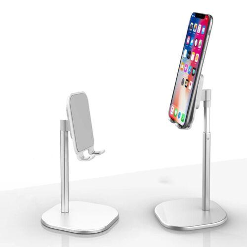Asztali telefon tartó állvány, állítható teleszkópos, fehér-ezüst