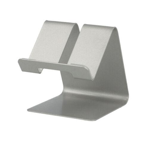 Asztali fém telefon és tablet tartó, állvány (63mm x 74mm x 70mm) (S014), ezüst