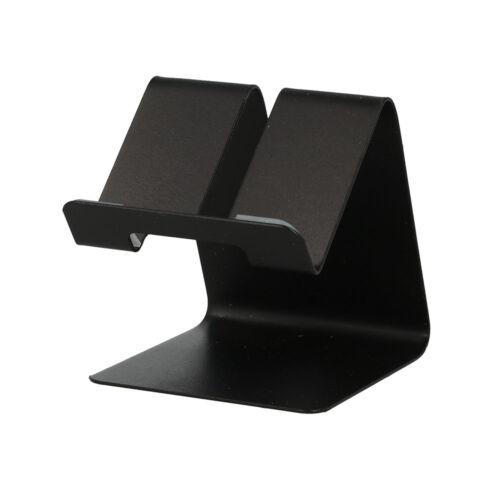 Asztali fém telefon és tablet tartó, állvány (63mm x 74mm x 70mm) (S014), fekete