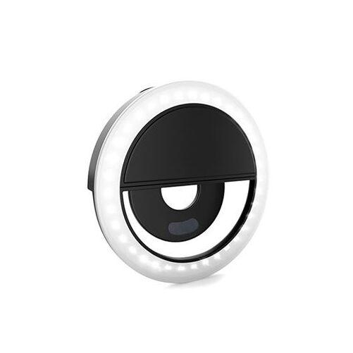Szelfi vaku, selfie gyűrű ledes világítással, fekete