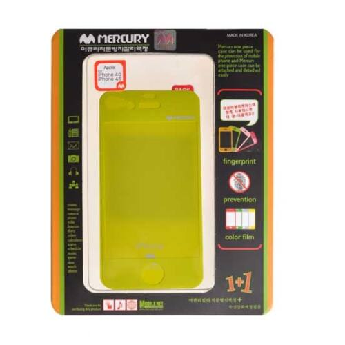 Színes, matt kijelző fólia Apple iPhone 4, 4s (első és hátsó), gyöngyház lime zöld