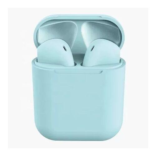 TWS i12, sztereó bluetooth headset, power bank, lightning töltőcsatlakozóval (EDR), matt kék