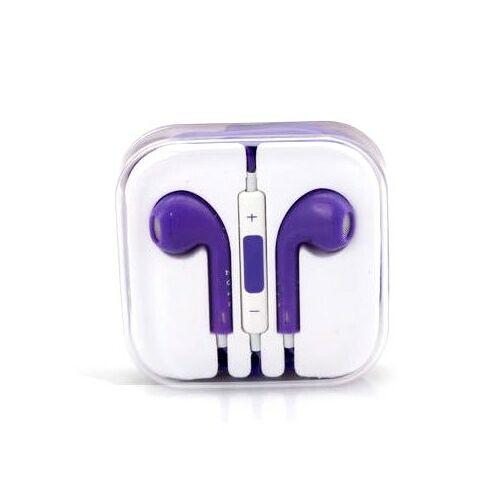 Apple Iphone 5, 6, utángyártott vezetékes sztereó headset, EarPods (3,5mm jack), lila