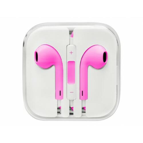Apple Iphone 5, 6, utángyártott vezetékes sztereó headset, EarPods (3,5mm jack), pink