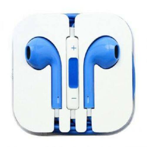Apple Iphone 5, 6, utángyártott vezetékes sztereó headset, EarPods (3,5mm jack), kék