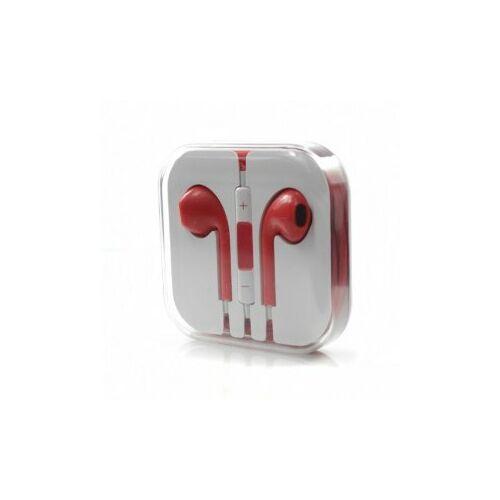 Apple Iphone 5, 6, utángyártott vezetékes sztereó headset, EarPods (3,5mm jack), piros
