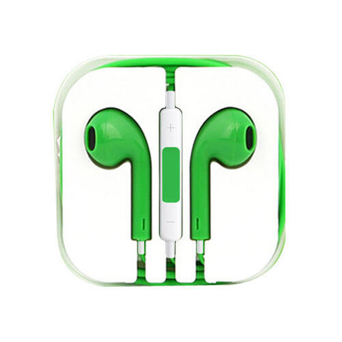 Apple Iphone 5, 6, utángyártott vezetékes sztereó headset, EarPods (3,5mm jack), zöld