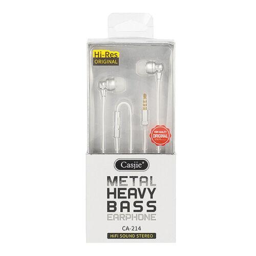 Casije Metal CA-214 vezetékes sztereó fém headset (3,5mm jack), fehér