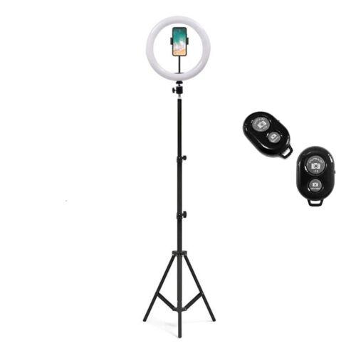 Tripod állvány fényképekhez, live videózáshoz Tik Tok ledes világítással + bluetooth távirányító (1,6 méter)