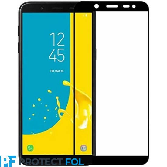 Samsung Galaxy J4 (2018), (J400), Ultra vékony (0,33mm), hajlított 5D ütésálló üvegfólia (teljes felületen ragad), fekete