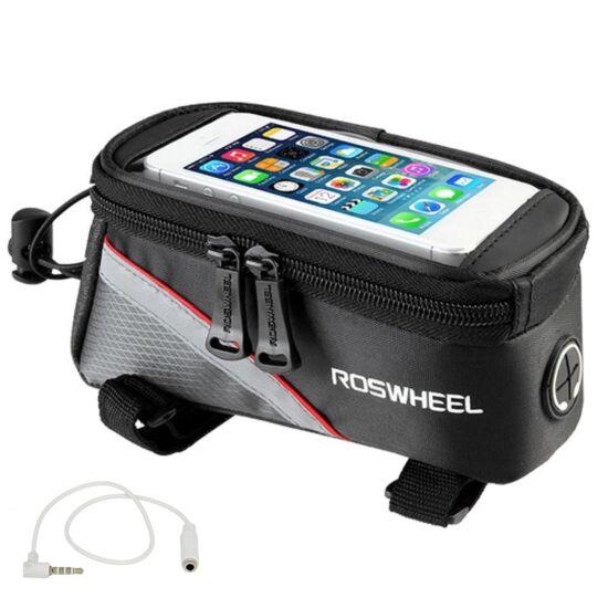 """Roswheel biciklis (kerékpárra szerelhető) vízálló táska 5,5"""" (kb 93mm * 175mm) méretű, fekete - piros"""