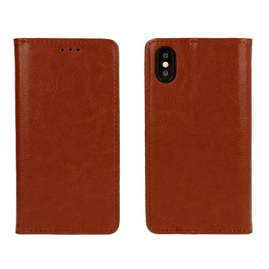 Samsung Galaxy A50, (A505), Book Special oldalra nyíló flip tok (eredeti olasz bőr), barna