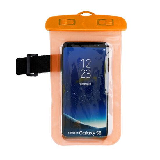 Vízálló, vízhatlan tok sportoláshoz, víz alatti fényképezéshez, hordozó zsinórral (max 160mm*90mm-es készülékhez), narancs