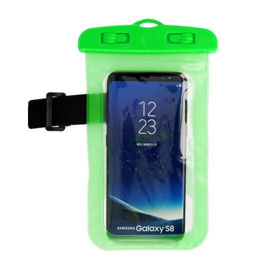 Vízálló, vízhatlan tok sportoláshoz, víz alatti fényképezéshez, hordozó zsinórral (max 160mm*90mm-es készülékhez), zöld
