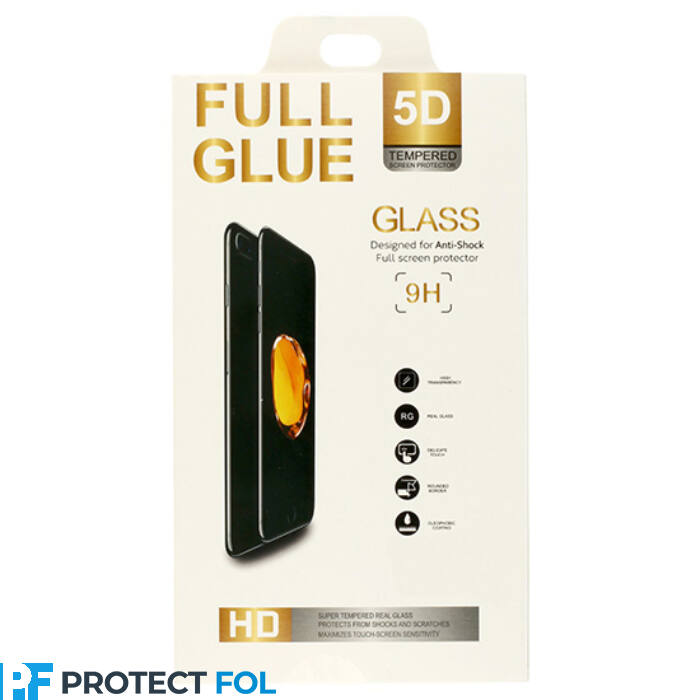 Huawei Mate 10 lite típusú telefonhoz 5D hajlított ütésálló üvegfólia, fekete
