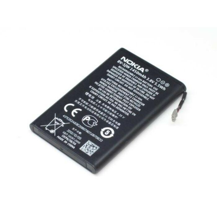 Gyári típusú akkumulátor Nokia Lumia 800, N9 típusú készülékhez, 1450 mAh (BV-5JW)