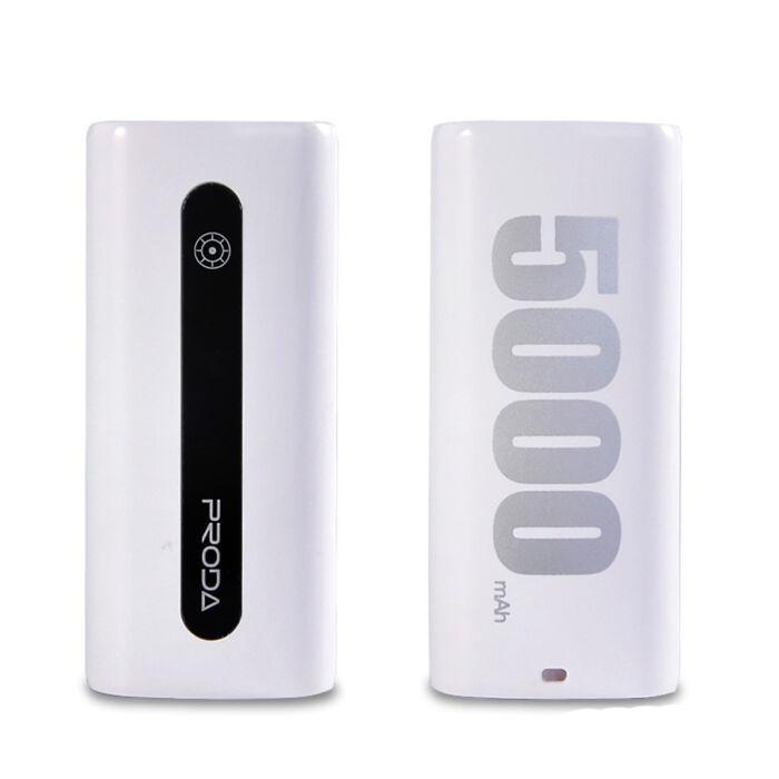 5000 mAh-s Remax Proda külső akkumulátor, Power Bank (E5), fehér