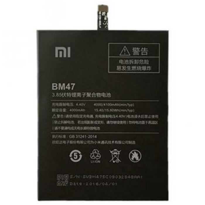 Xiaomi Redmi 3, 3S, 3X, 4X, gyári típusú akkumulátor, 4000 mAh (BM47)