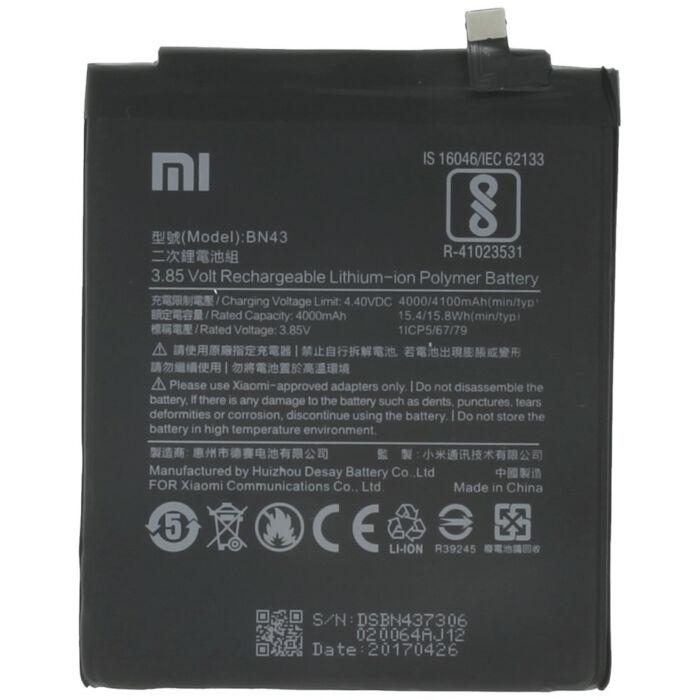 Gyári típusú akkumulátor Xiaomi Redmi Note 4x típusú készülékhez, 4000 mAh (BN43)