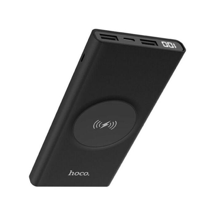 10000 mAh-s Hoco külső akkumulátor wireless töltéssel, Power Bank 2xUSB (J37), fekete