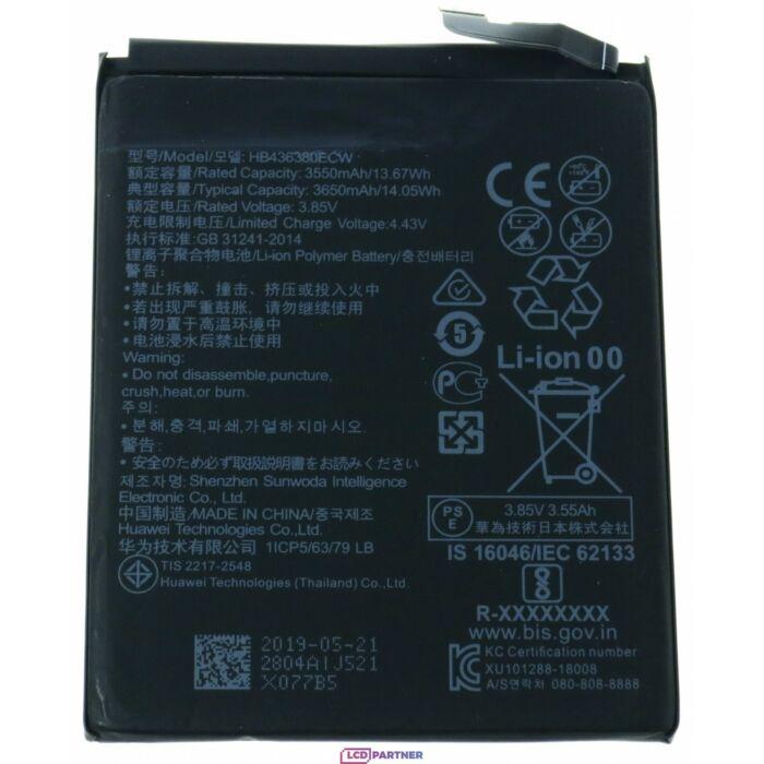 Gyári típusú akkumulátor Huawei P30 (ELE-L09) típusú készülékhez, 3650 mAh (HB436380ECW)