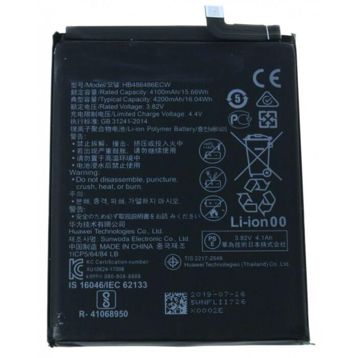 Huawei P30 Pro, Mate 20 Pro gyári típusú akkumulátor, 4200 mAh (HB486486ECW)