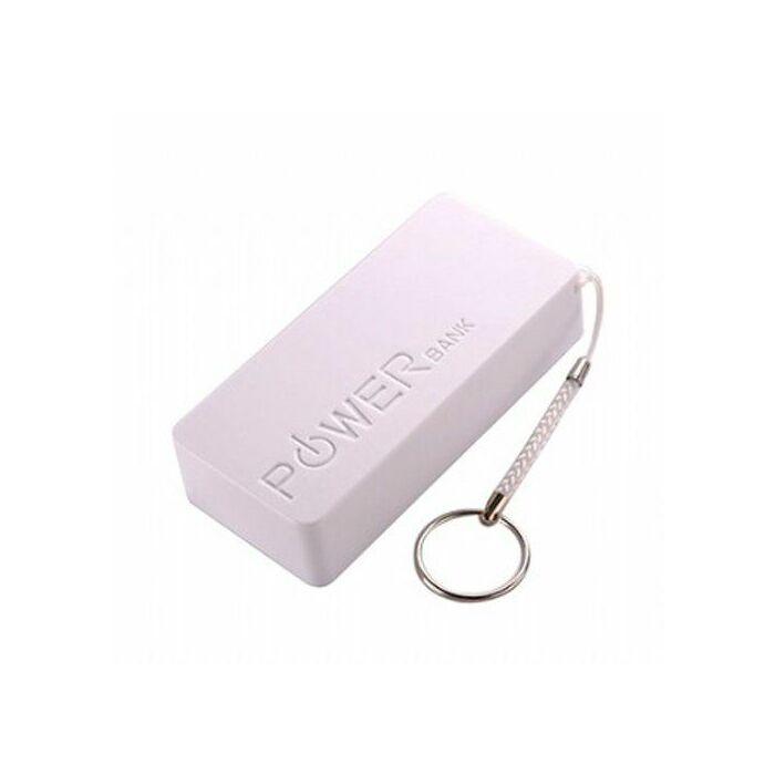 5600 mAh-s Slim külső akkumulátor, Power Bank, kulcstartó karikával (RM-056), fehér