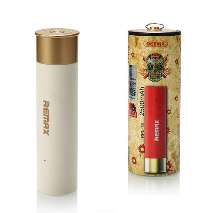 Remax Shell, töltény alakú Power Bank, külső akkumulátor 2500 mAh-s 1db USB (RPL-18), fehér