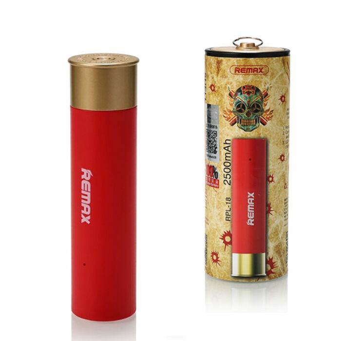2500 mAh-s Remax Shell, töltény alakú külső akkumulátor 1db USB kimenettel, Power Bank (RPL-18), piros
