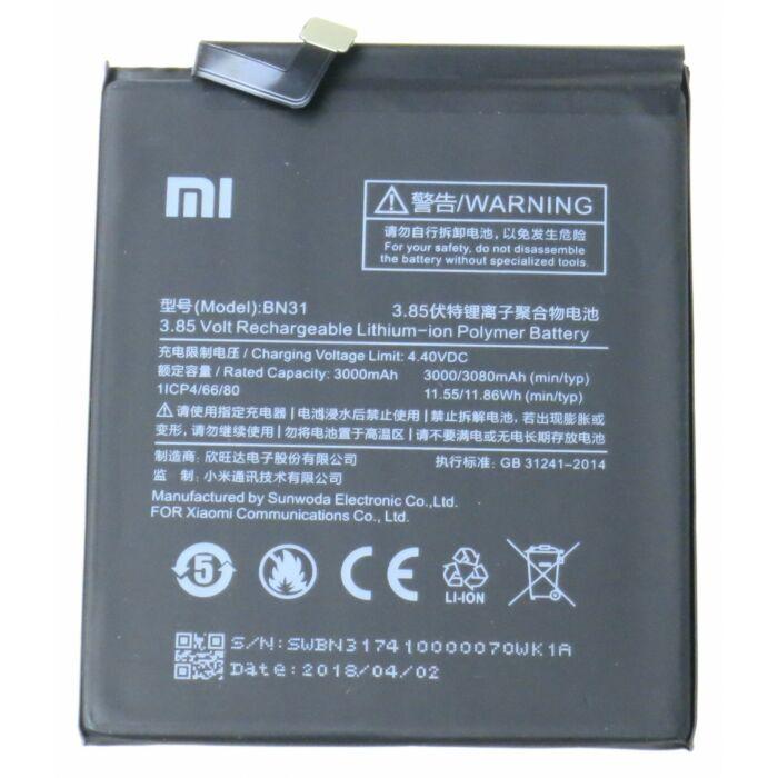 Xiaomi Mi A1, Redmi Note 5A, gyári típusú akkumulátor, 3000 mAh (BN31)