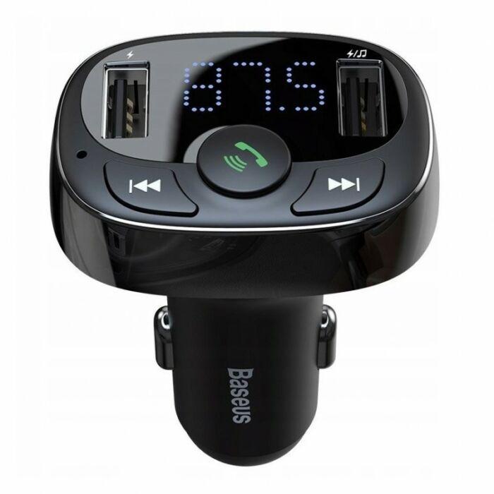 Baseus bluetooth FM transmitter és kihangosító CCTM-01, gyors telefon töltéssel