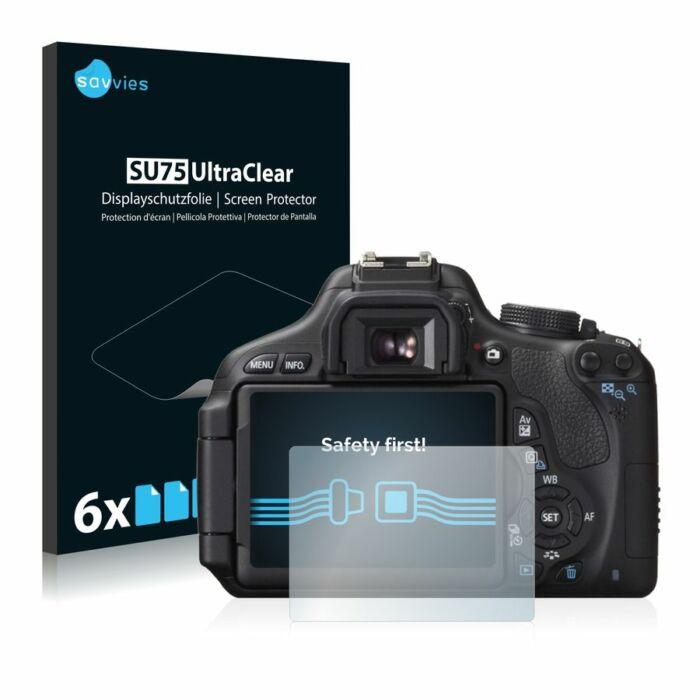 6db-os Savvies SU75 kristálytiszta fólia, Canon EOS 600D típusú fényképezőhöz
