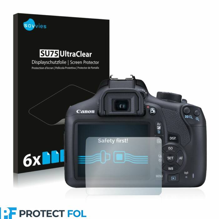 6db-os Savvies SU75 kristálytiszta fólia, Canon EOS 1300D típusú fényképezőhöz