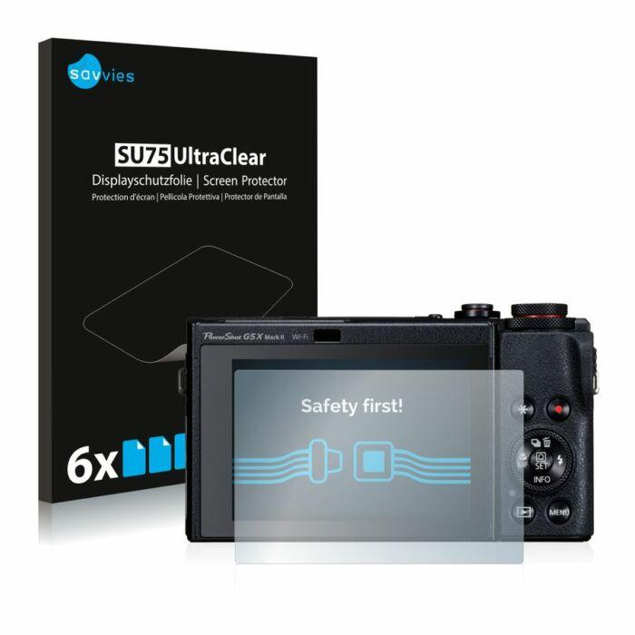 6db-os Savvies SU75 kristálytiszta fólia, Canon PowerShot G5 X Mark II típusú fényképezőhöz