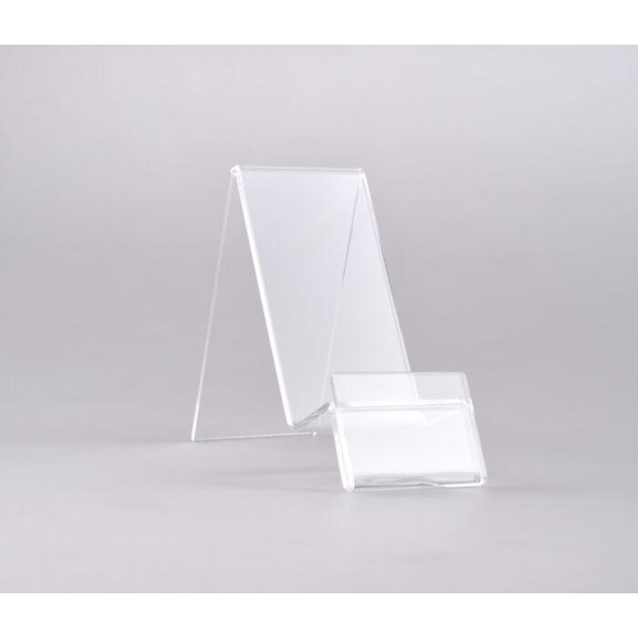 Asztali átlátszó plexi telefon tartó, állvány (80mmx40mmx90mm)