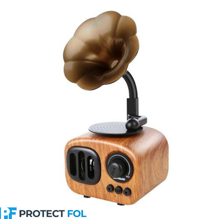 Gramofon alakú bluetooth-os hangszóró rádióval, kicsi (B7), világos barna